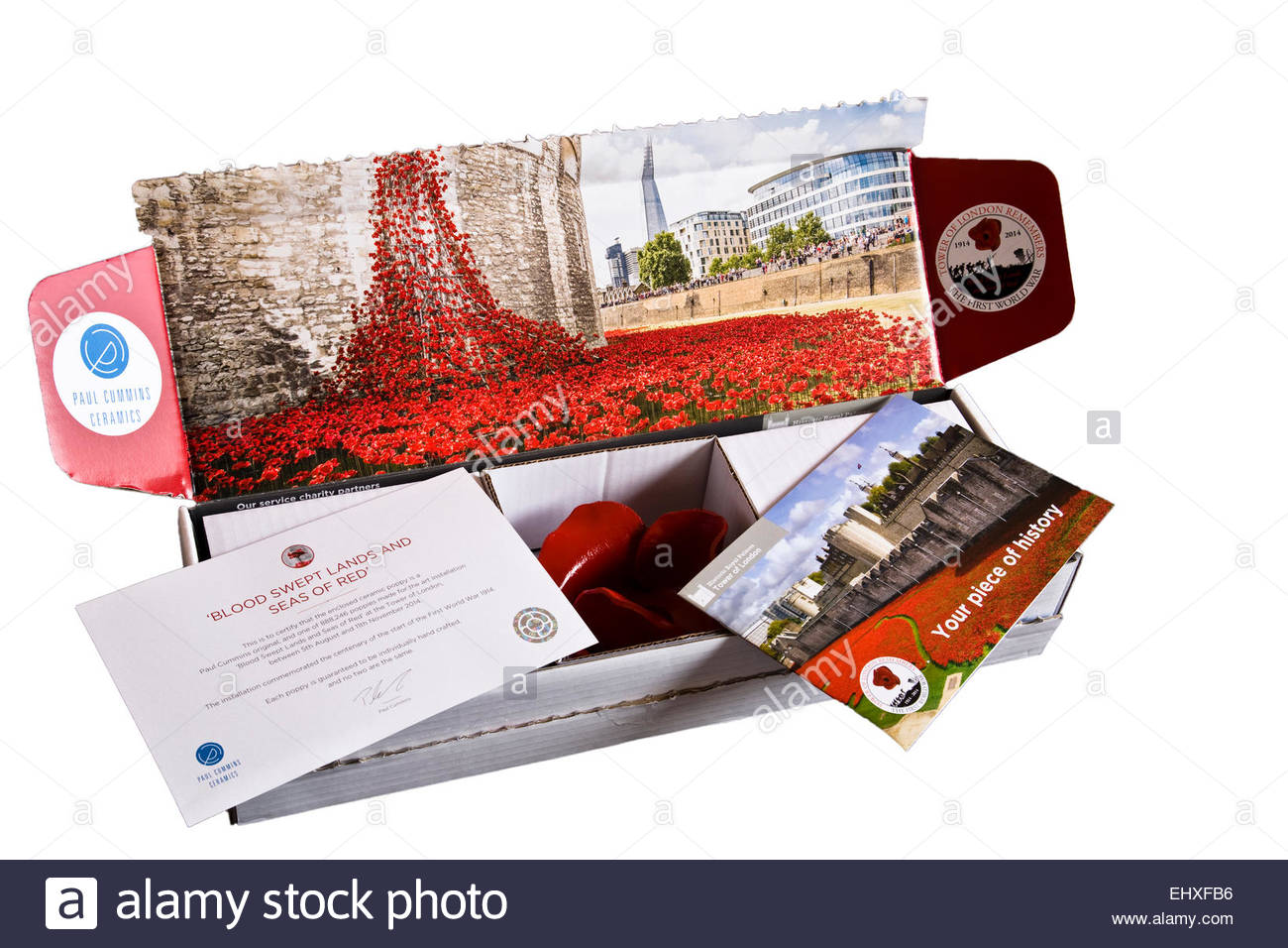Remembrance Day red poppy commemoration from the Tower of London with certificate - Stock Image