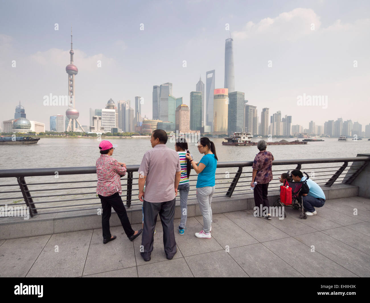 View of the Oriental Pearl Tower and skyscrapers of the Pudong financial district skyline from the Bund in Shanghai, - Stock Image