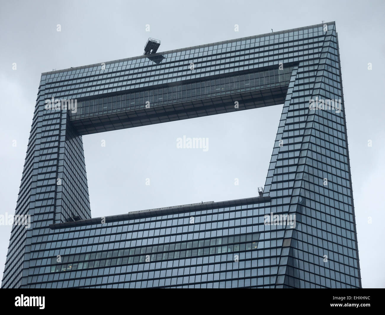 Detail Of The Top Of The Shanghai World Financial Center Skyscraper