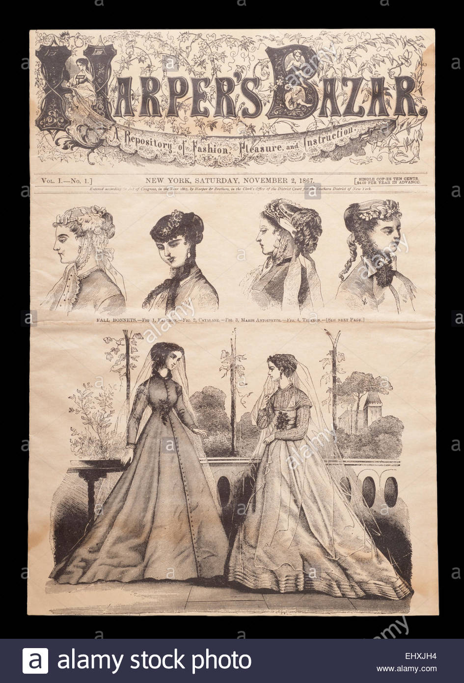 The Cover of Harper's Bazar Magazine from November, 2nd 1867. Issue 1 Volume 1. The very First Fashion Magazine - Stock Image