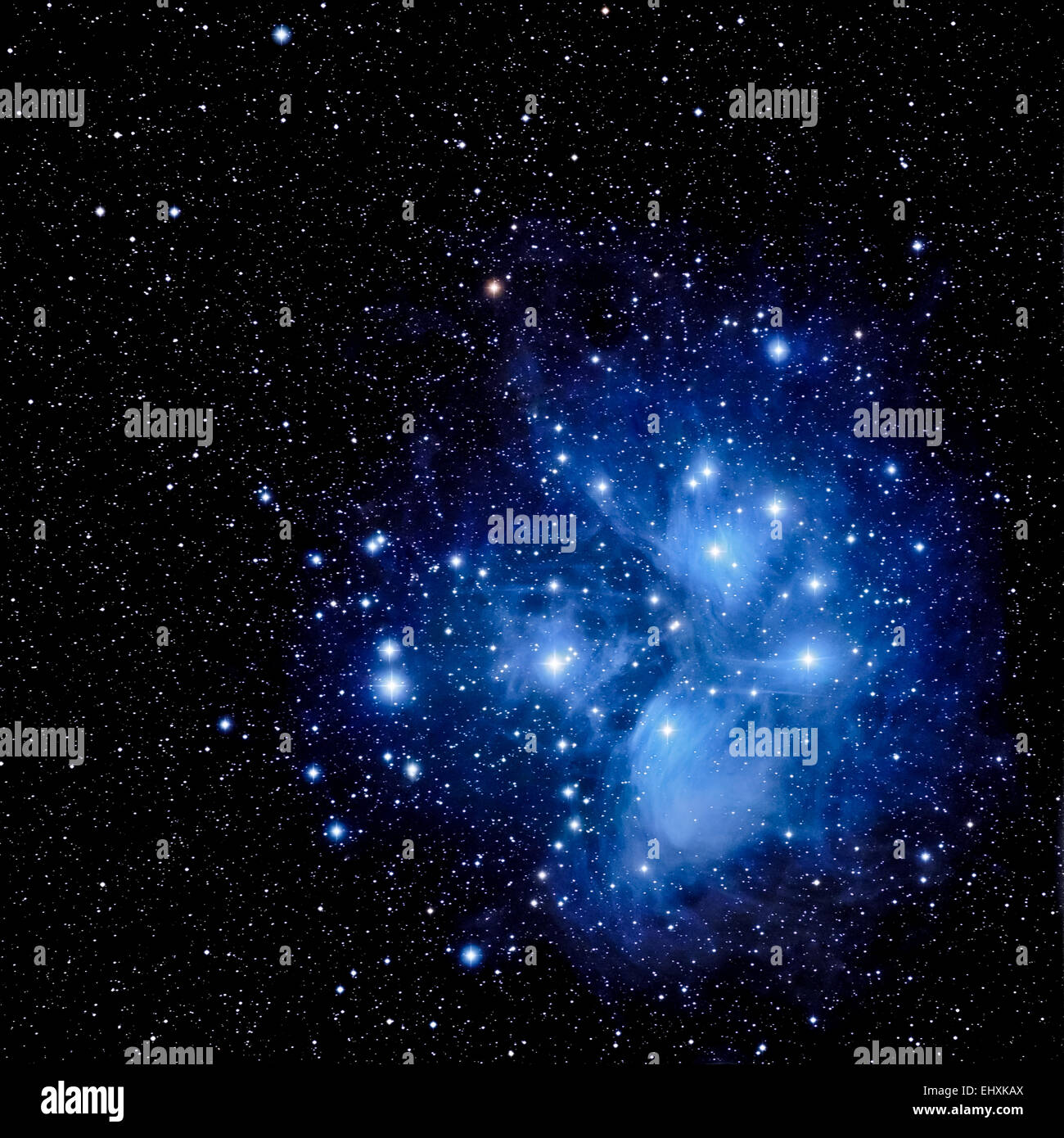 Pleiades Group and Merope Nebula (Actual Astrophotograph) M-45 - Stock Image