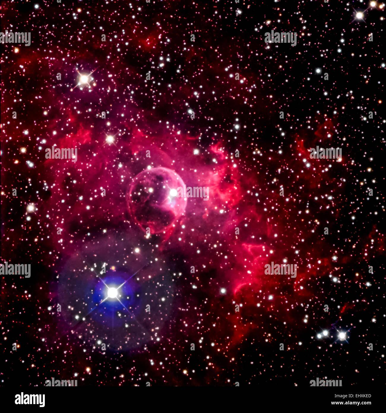 NGC 7635, the Bubble Nebula (Actual Astrophotograph) - Stock Image