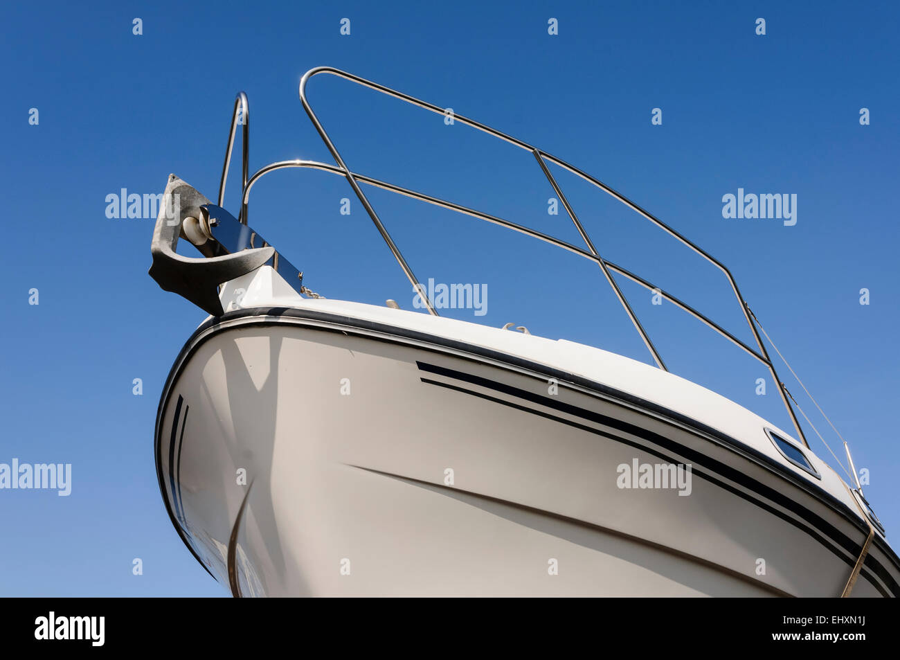 Bow of a boat with an anchor Stock Photo