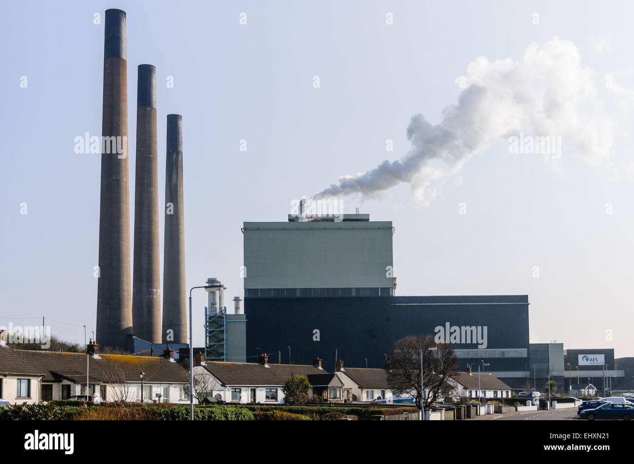 Ballylumford electricity power station, owned by AES Generation - Stock Image