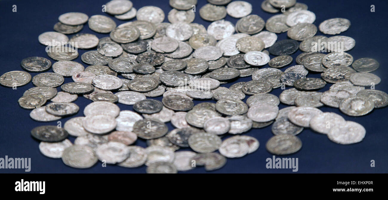 162 silver Roman coins from the 3rd century.Roman coin treasure unearthed in Buren The Netherlands. - Stock Image