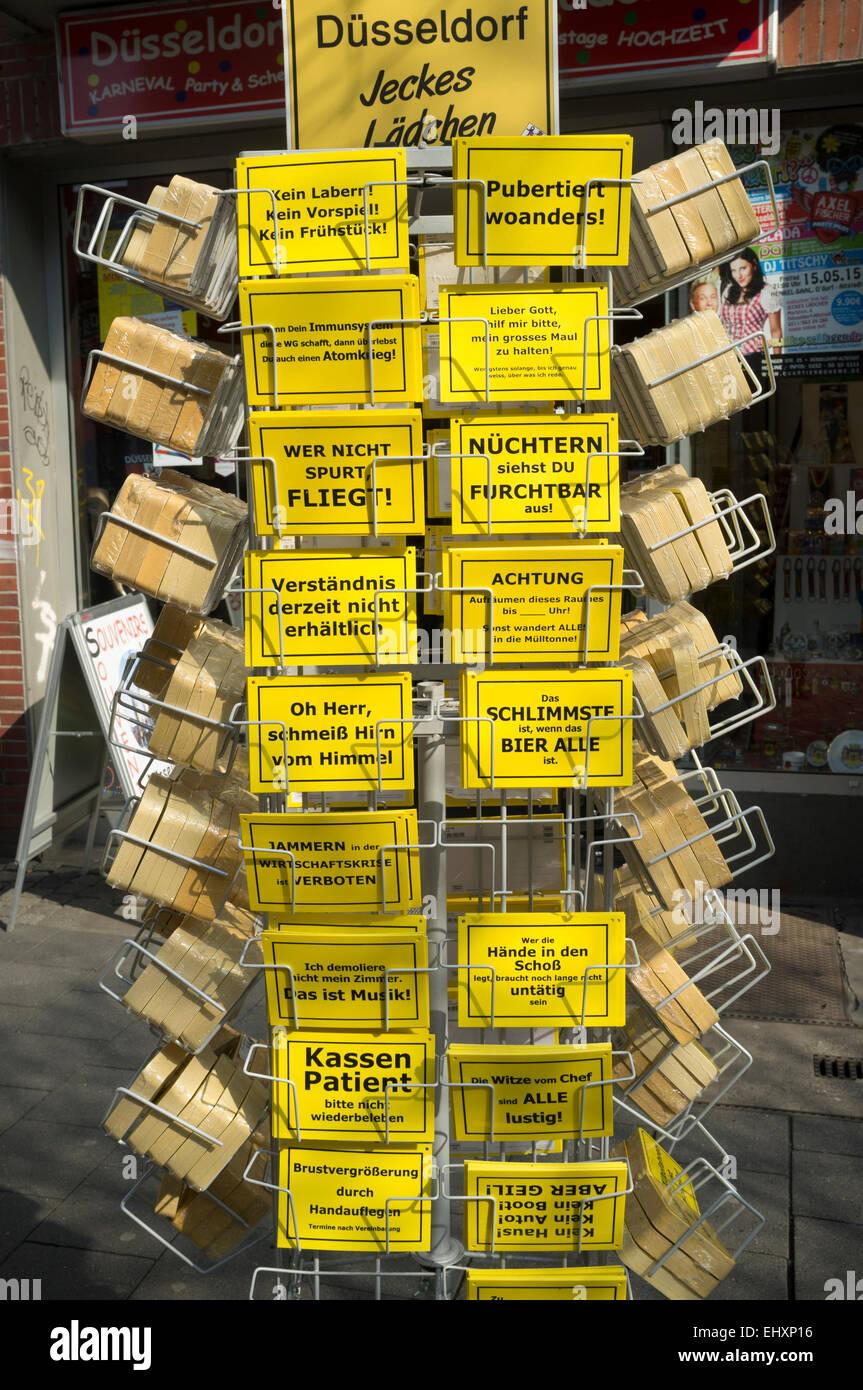 Funny postcards Dusseldorf Germany - Stock Image