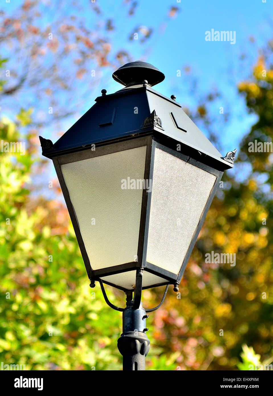 Old street lamp on a nature background - Stock Image