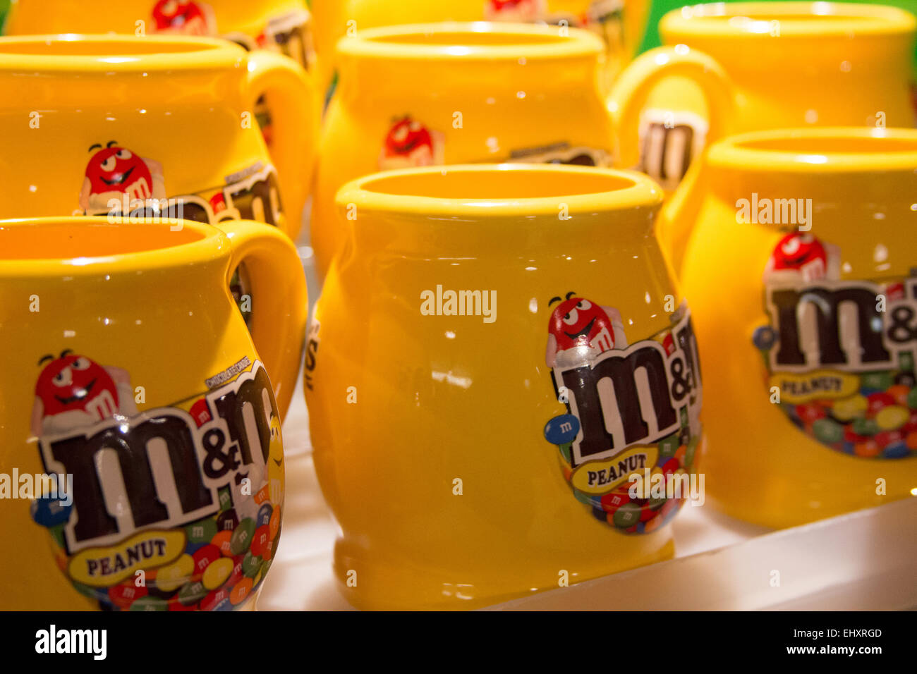 yellow drinking mugs at m m s world leicester square london uk