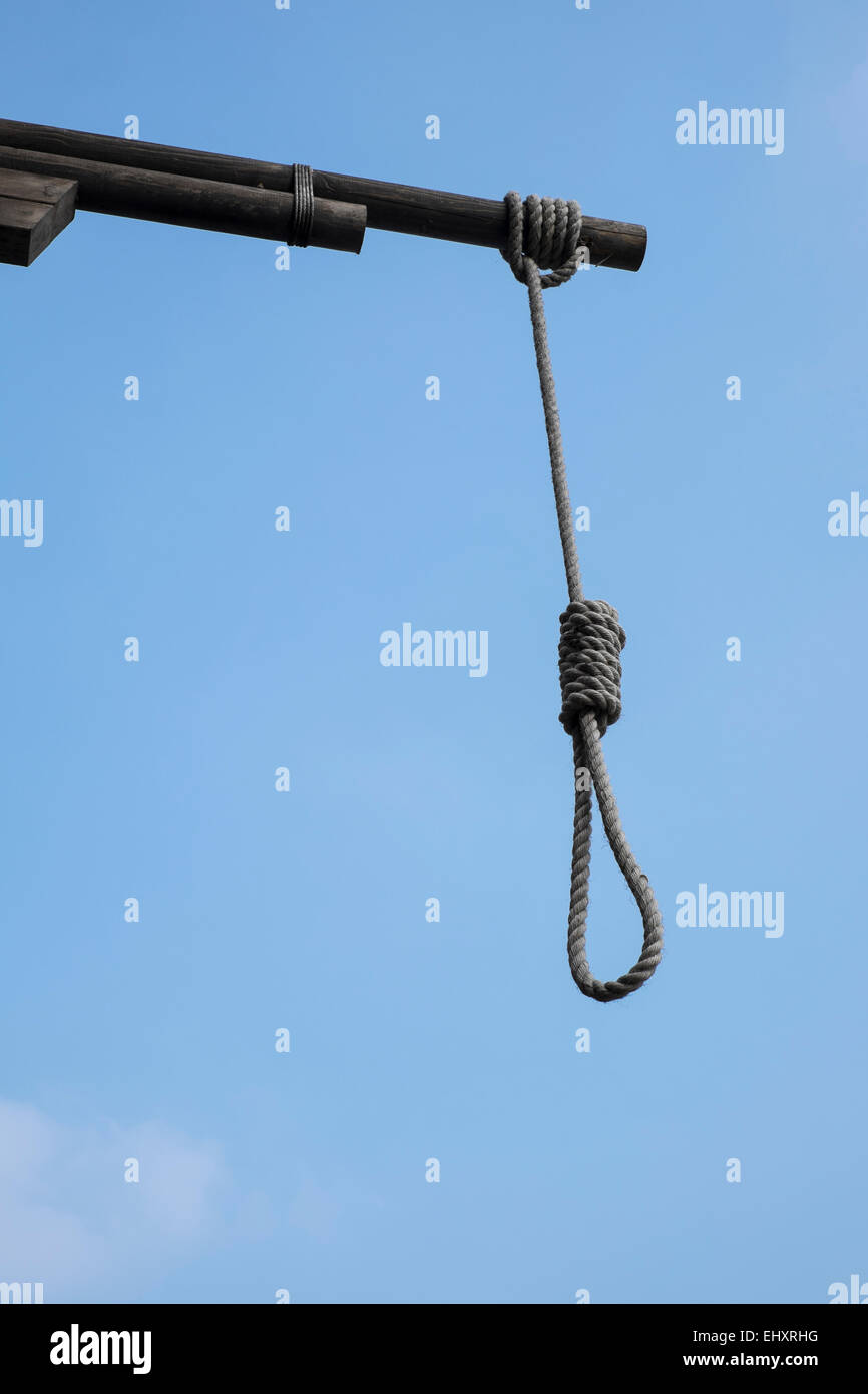 Hangman's noose outside The Prospect of Whitby Pub in London mail@davidlevenson.com - Stock Image