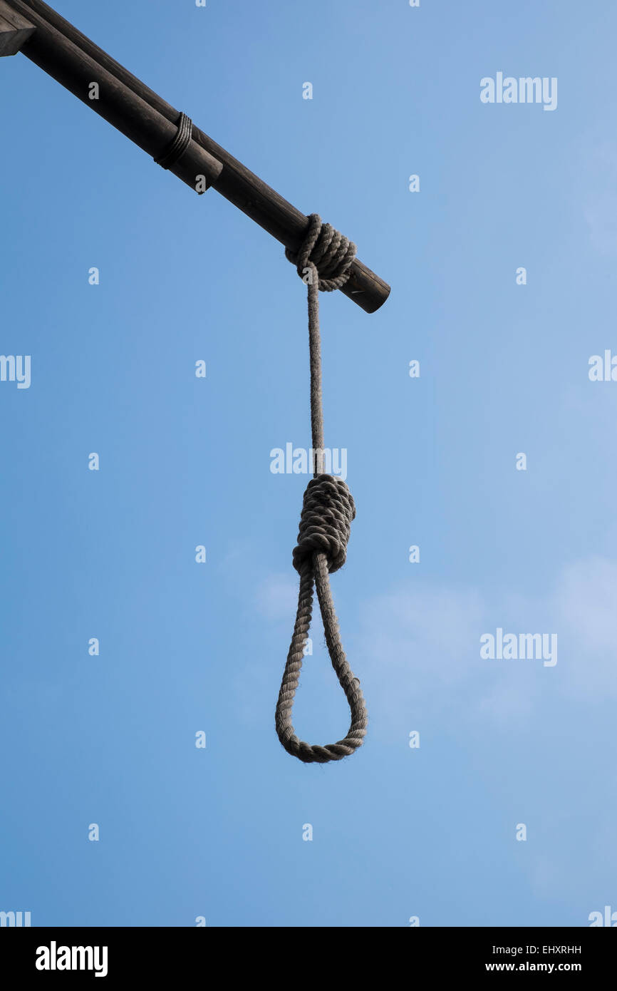 Hangman's noose outside The Prospect of Whitby Pub in London - Stock Image