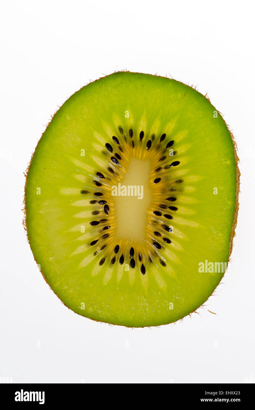 Cross-section of sliced Kiwi fruit (Actinidia chinensis) showing inner pulp with fruit flesh and seeds, native to - Stock Image