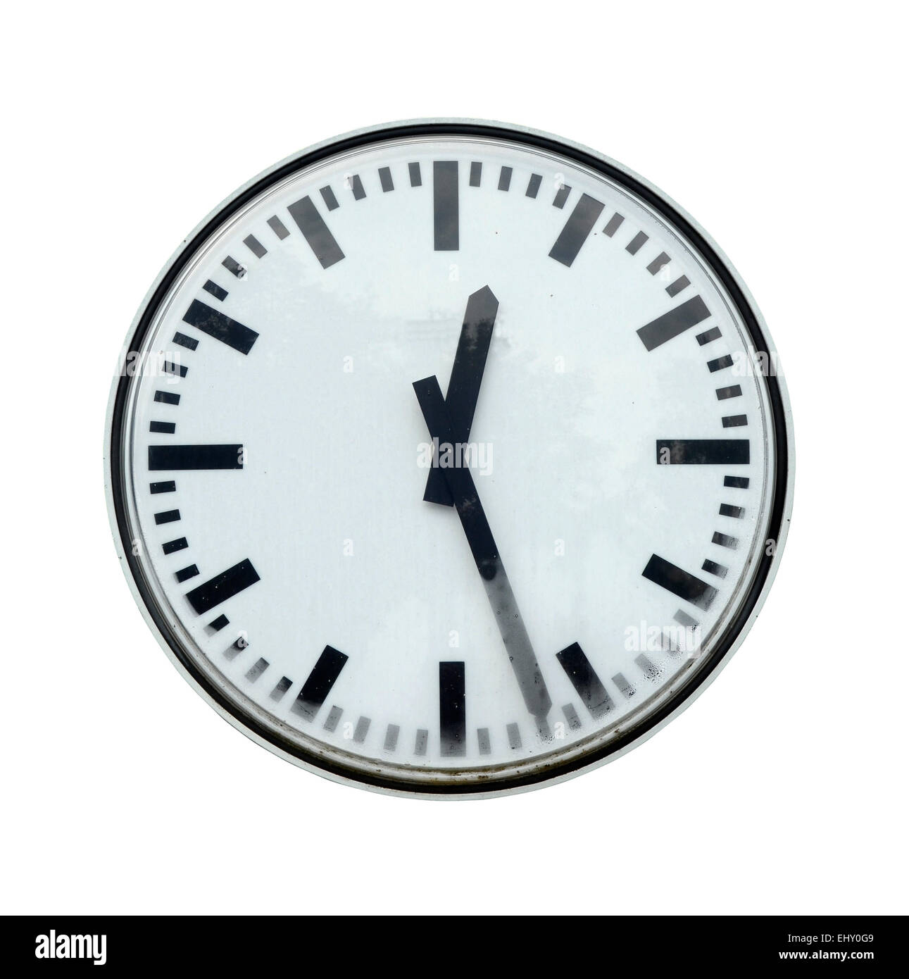 Isolation Of Grungy Station Clock With Clipping Path - Stock Image