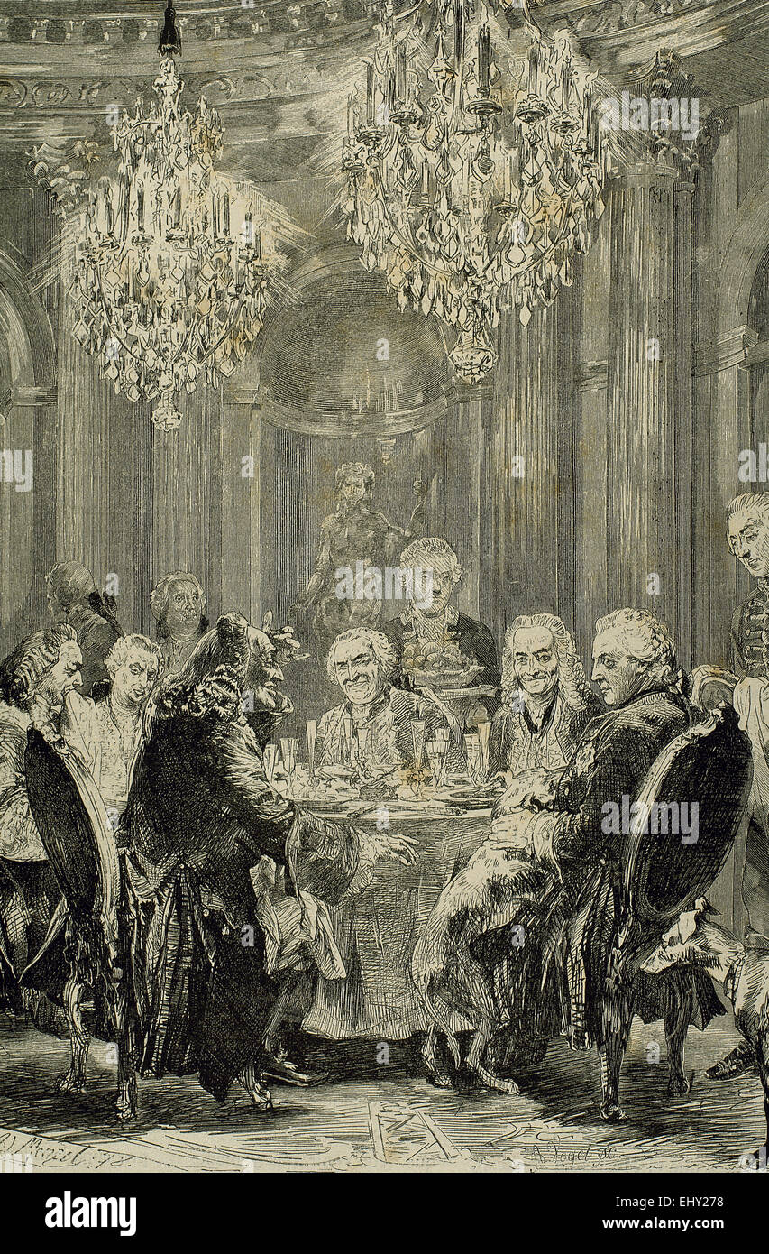 Frederick II The Great (1712-1786). King of Prusian. Meeting in Sans-Souci. Engraving by A. Vogel. - Stock Image