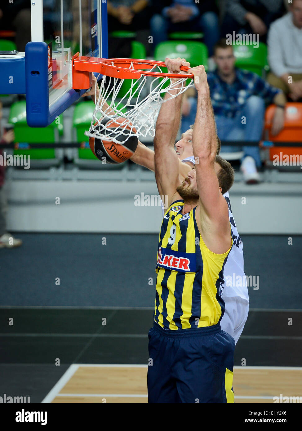 LUBIN, POLAND - OCTOBER 24, 2014: Semih Erden in action during the Euroleague basketball match - Stock Image