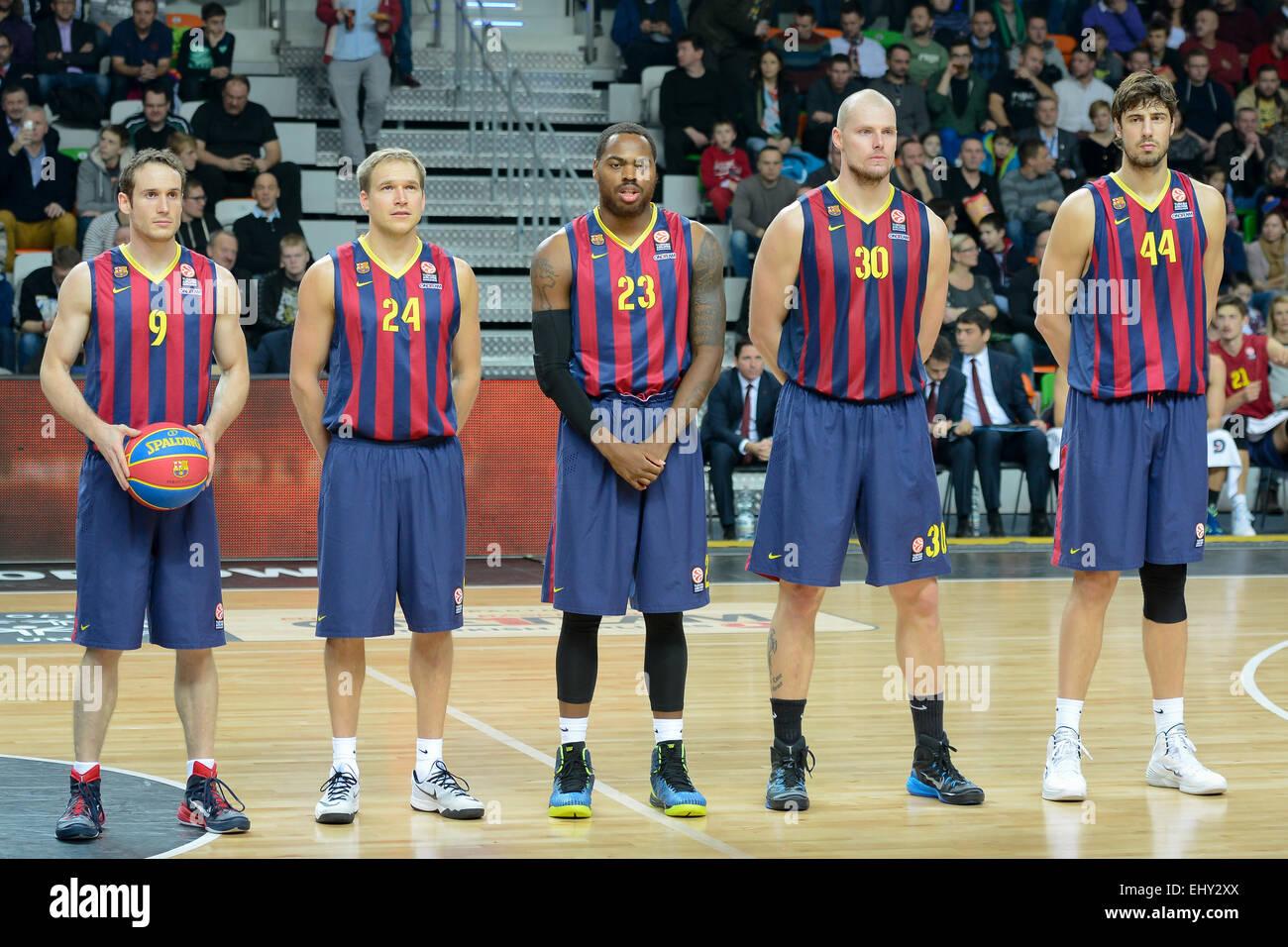LUBIN, POLAND - DECEMBER 5, 2014: Team of FC Barcelona before the Euroleague basketball match - Stock Image