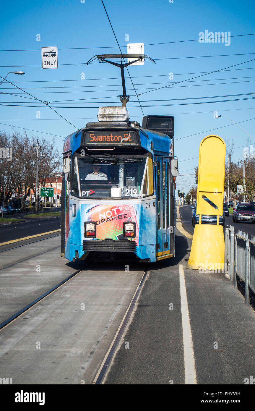 Blue Tram from St. Kilda to Swanston St. in Melbourne, Australia. The public transportation system in Melbourne - Stock Image