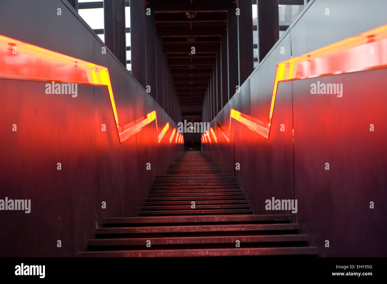 Stairs visitor area of the Ruhr Museum Zeche Zollverein World Heritage Site in Essen, North Rhine-Westphalia, Germany, - Stock Image