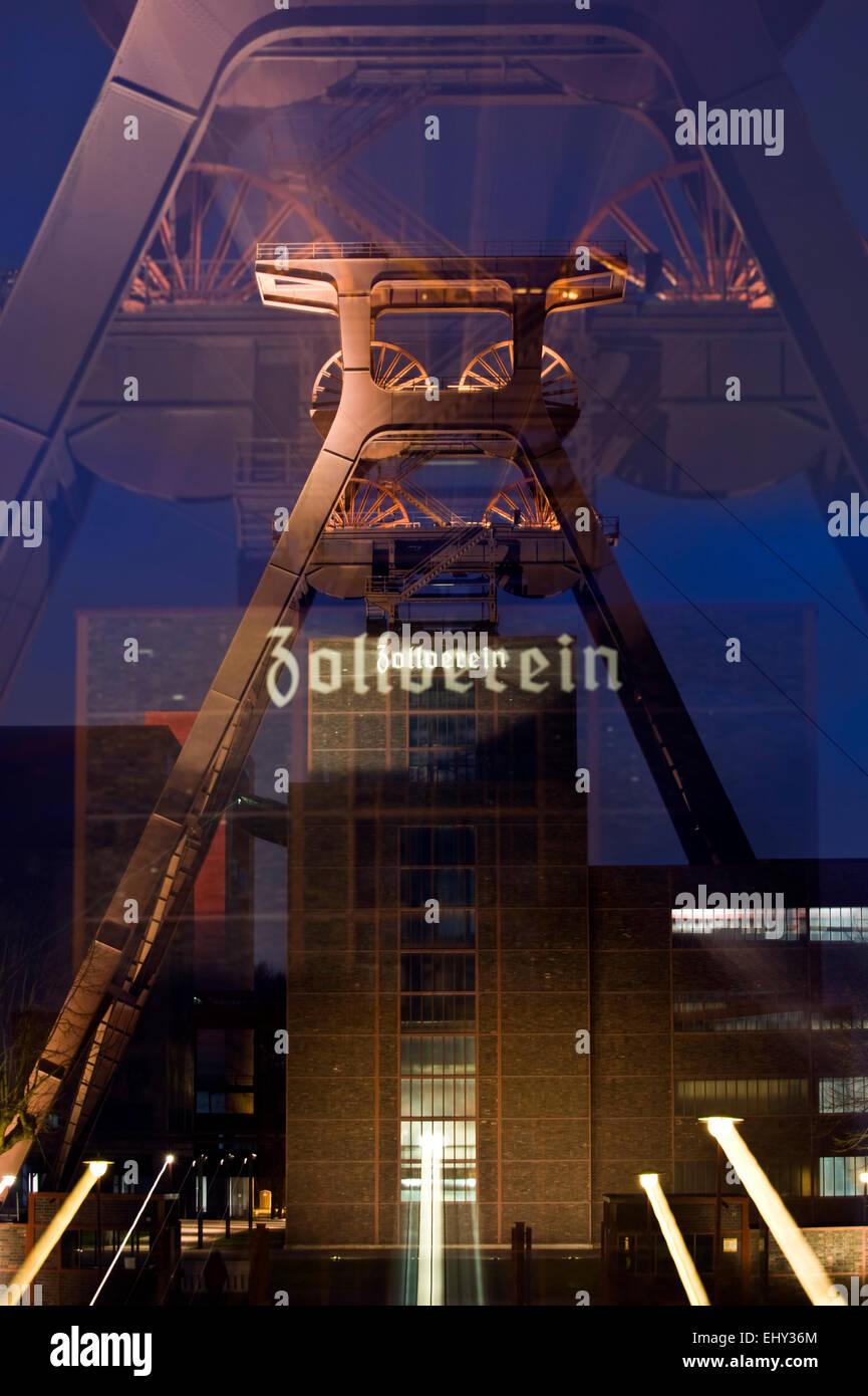 Shaft tower 12 UNESCO world heritage site Zeche Zollverein in Essen Katernberg in the evening, Ruhrgebiet, Germany - Stock Image