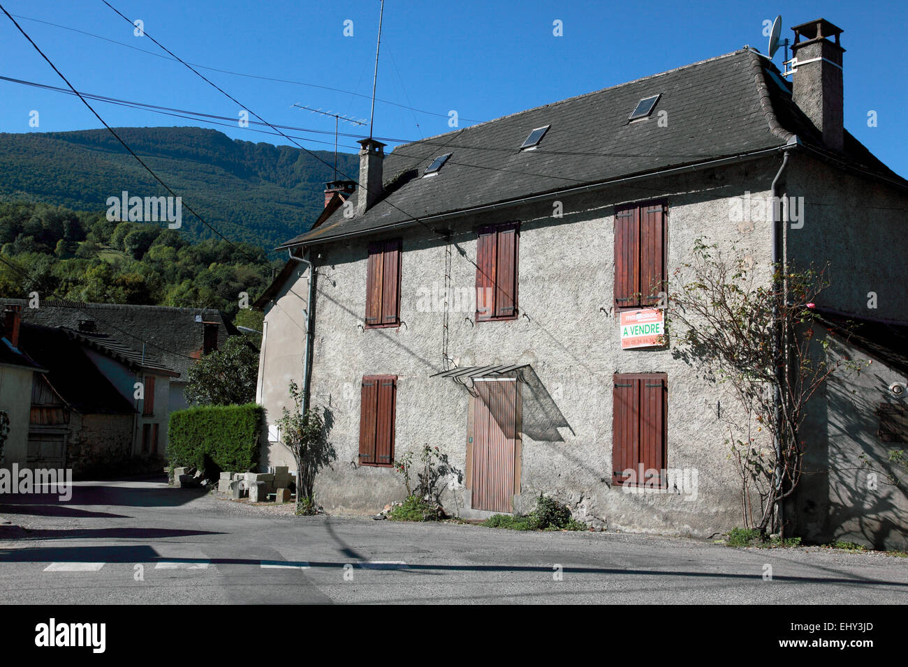 A house for sale in Argein, a village in Ariege department in Midi Pyrenees in south western France - Stock Image