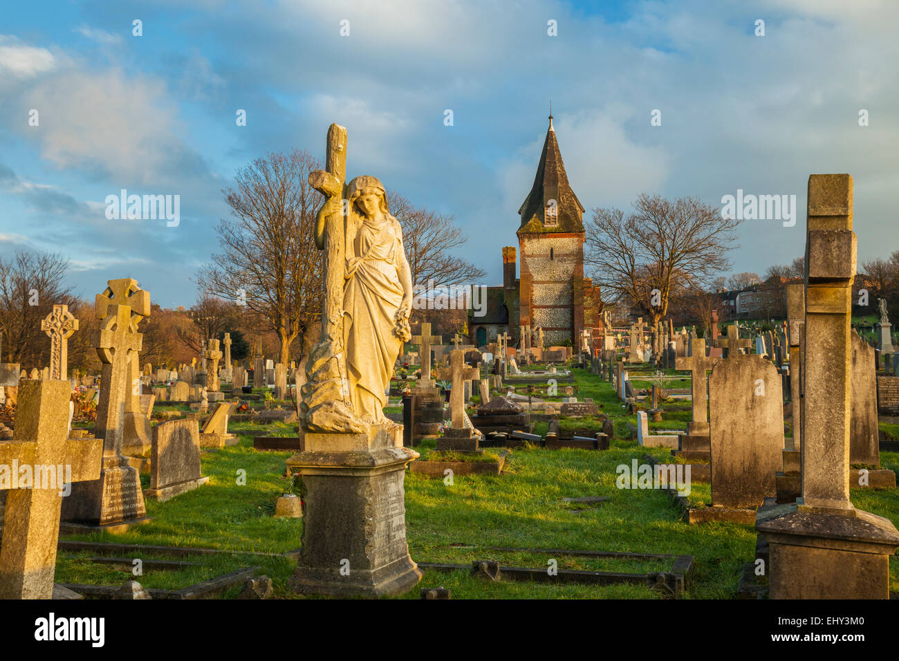 Winter sunset at an old cemetery in Brighton, East Sussex, England. Stock Photo