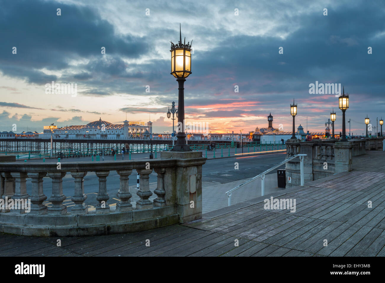 Winter evening on Brighton seafront, East Sussex, England. Stock Photo