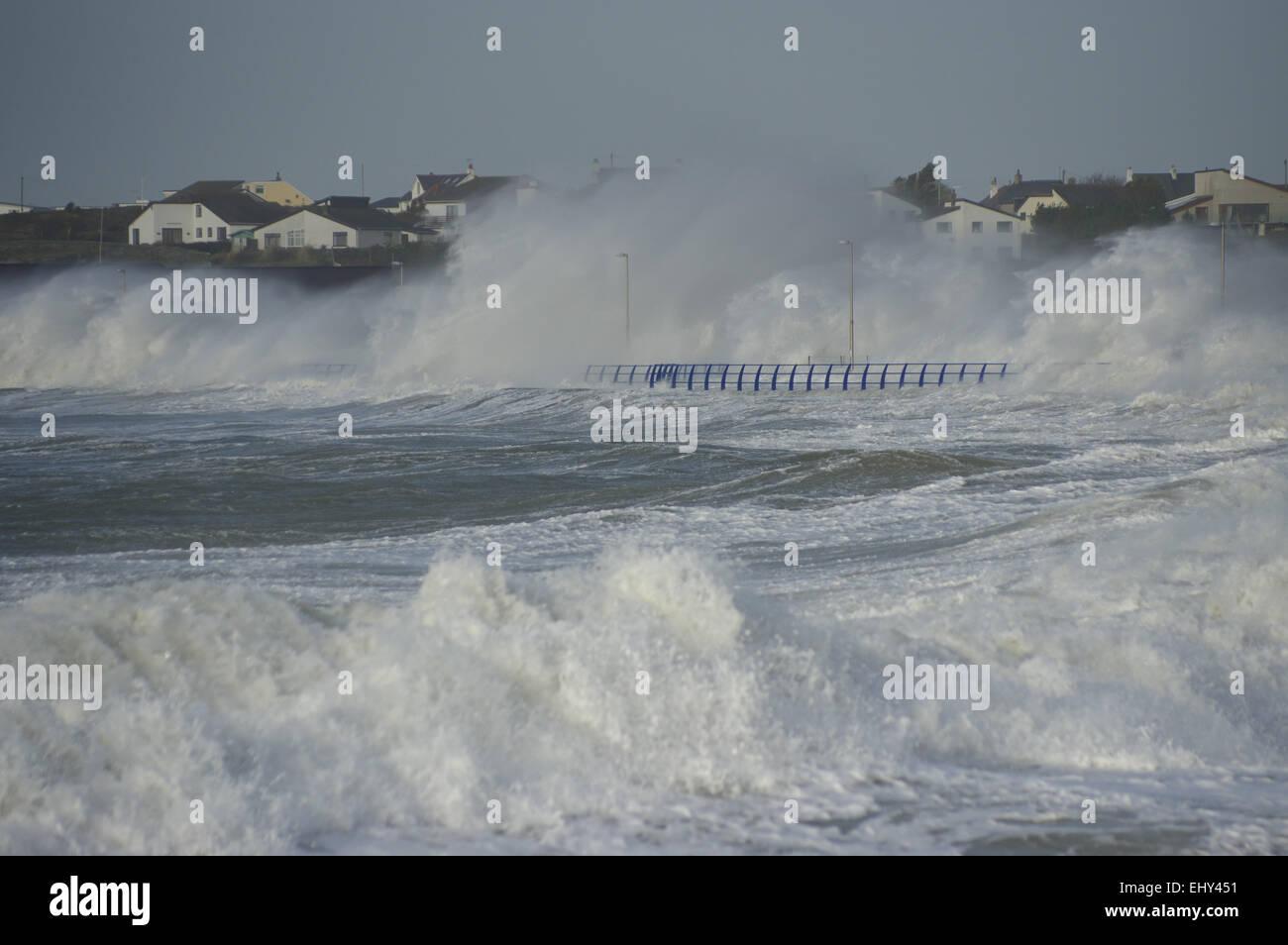 Promenade, Trearddur Bay, Anglesey,  Stormy Sea - Stock Image