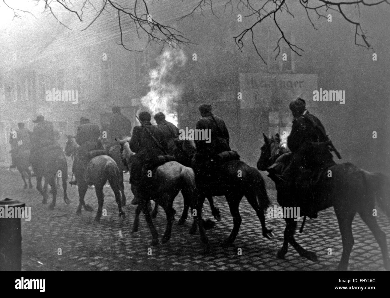 SOVIET CAVALRY in an unidentified German town about 1944 - Stock Image