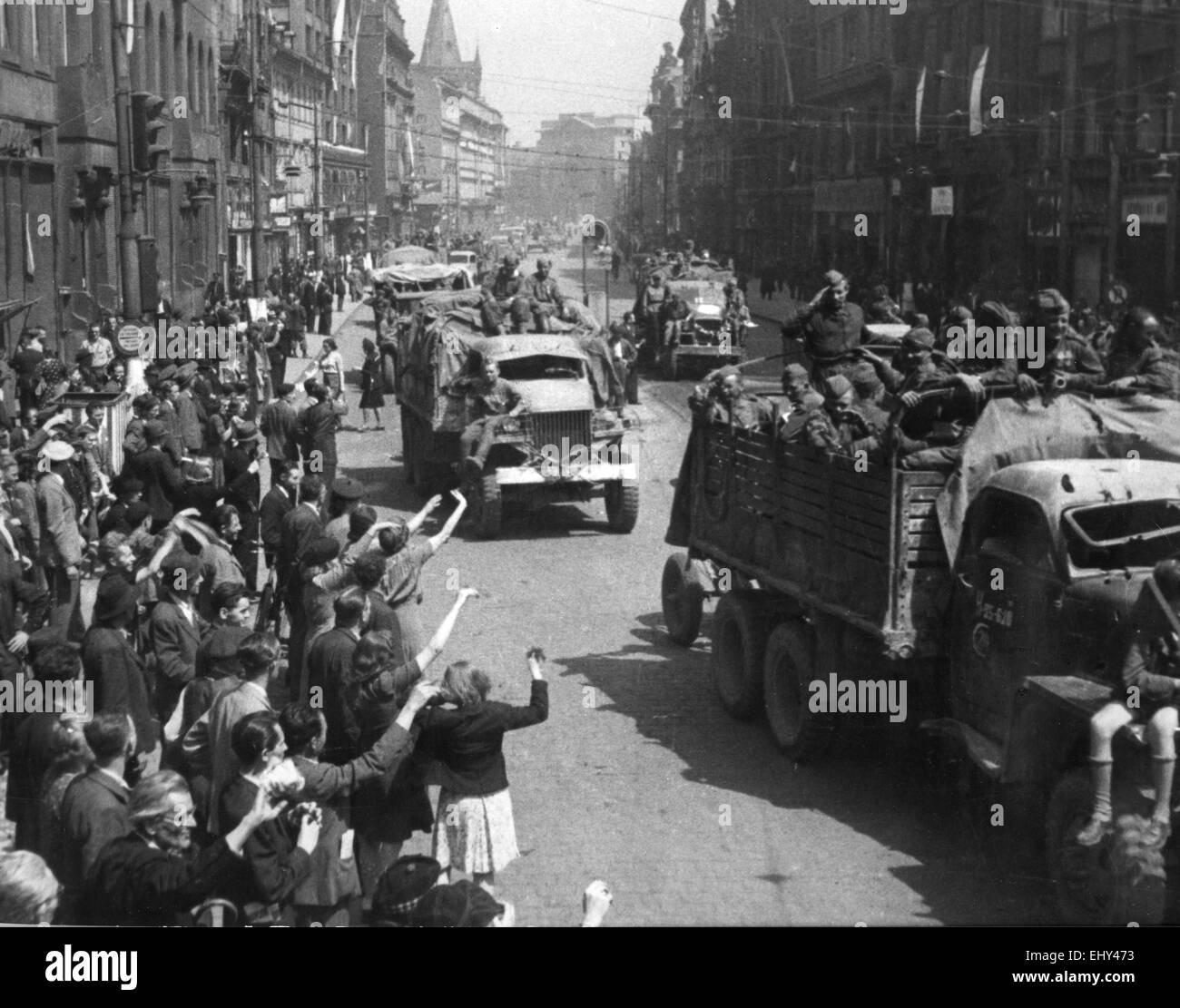RED ARMY ENTERS Prague 9 May 1945 - Stock Image