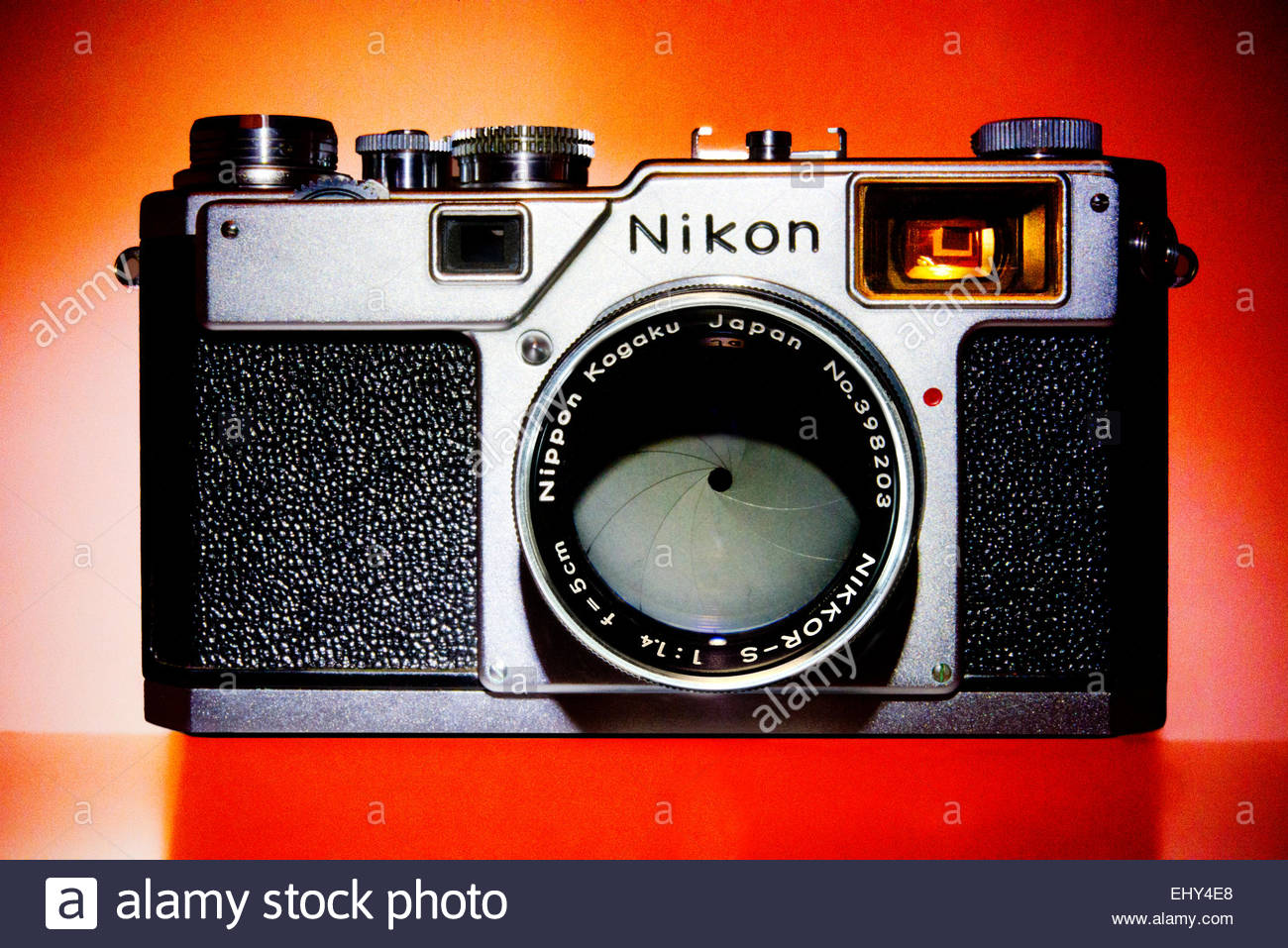 Rare Nikon S4 Rangefinder Camera with 5cm 1.4 Lens. The S4 was made for the Japanese Market only 5000 were produced. - Stock Image