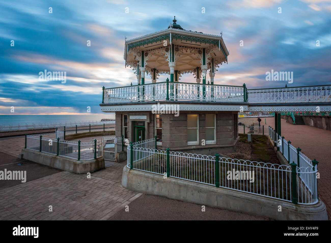 Sunset at the Bandstand in Brighton, East Sussex, England. - Stock Image