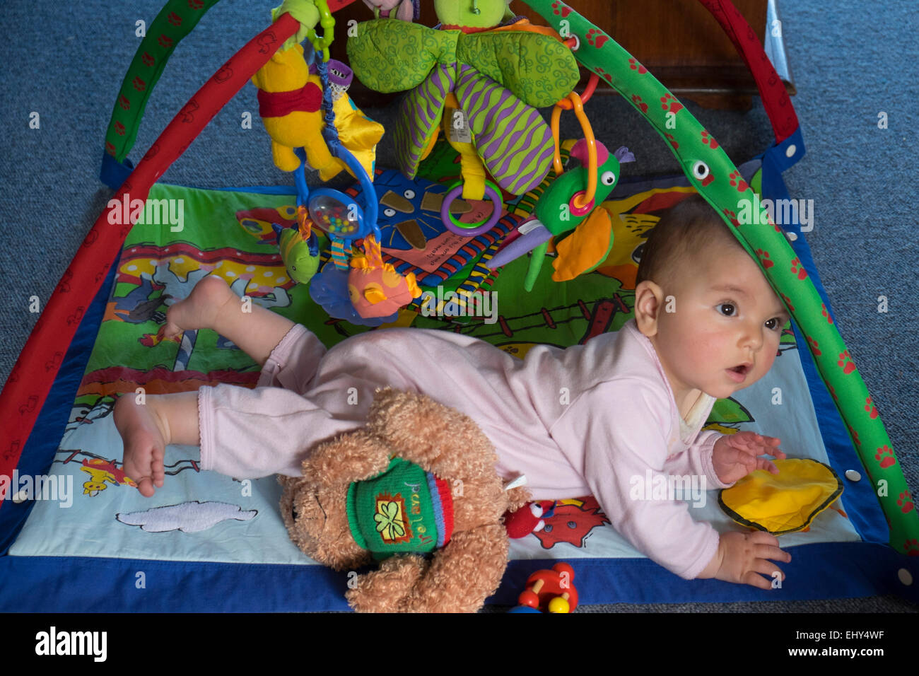 8 Month Old Baby Girl Playing On Floor With Interactive Toy Stock