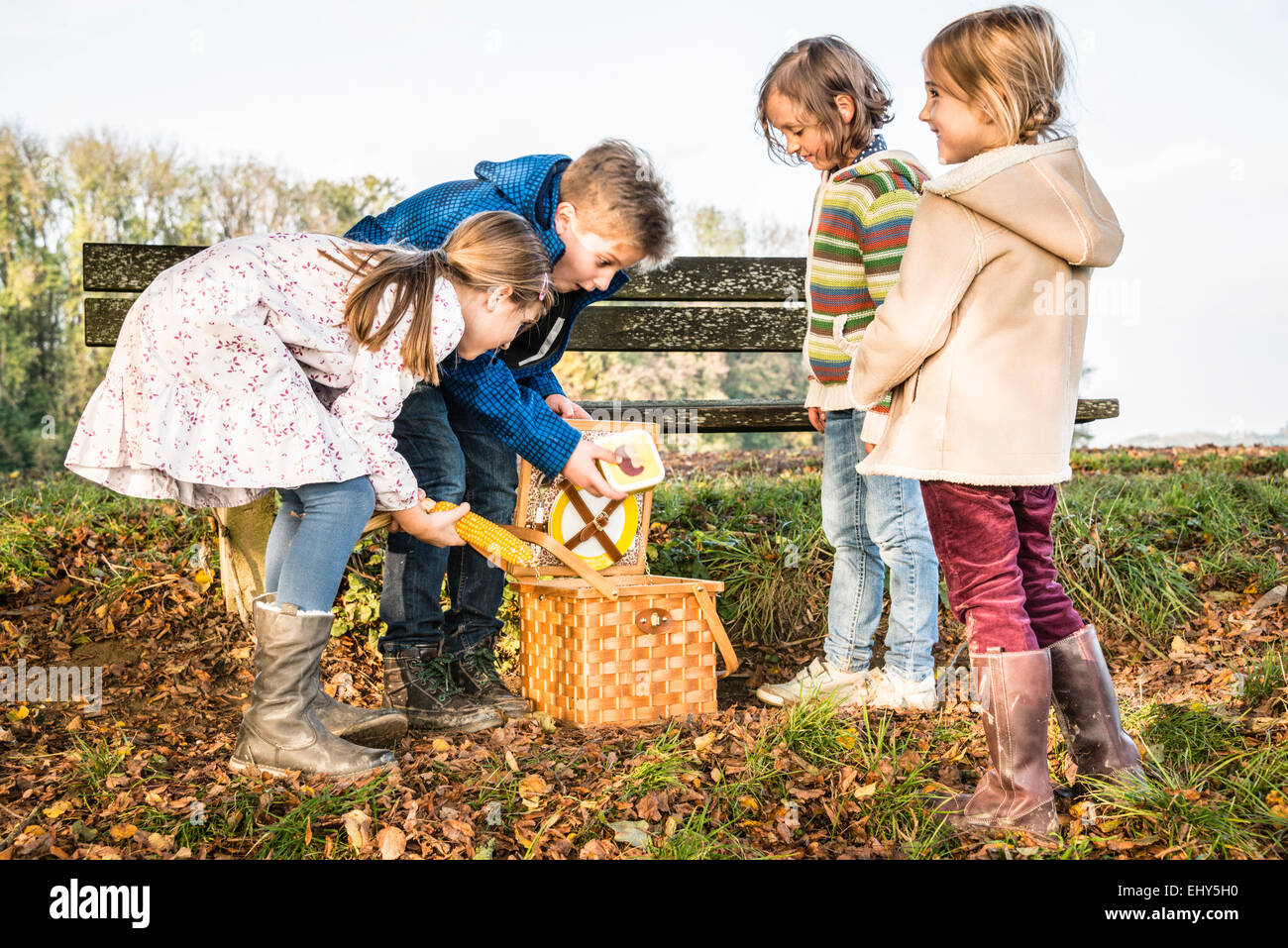 Children looking into picnic basket Stock Photo
