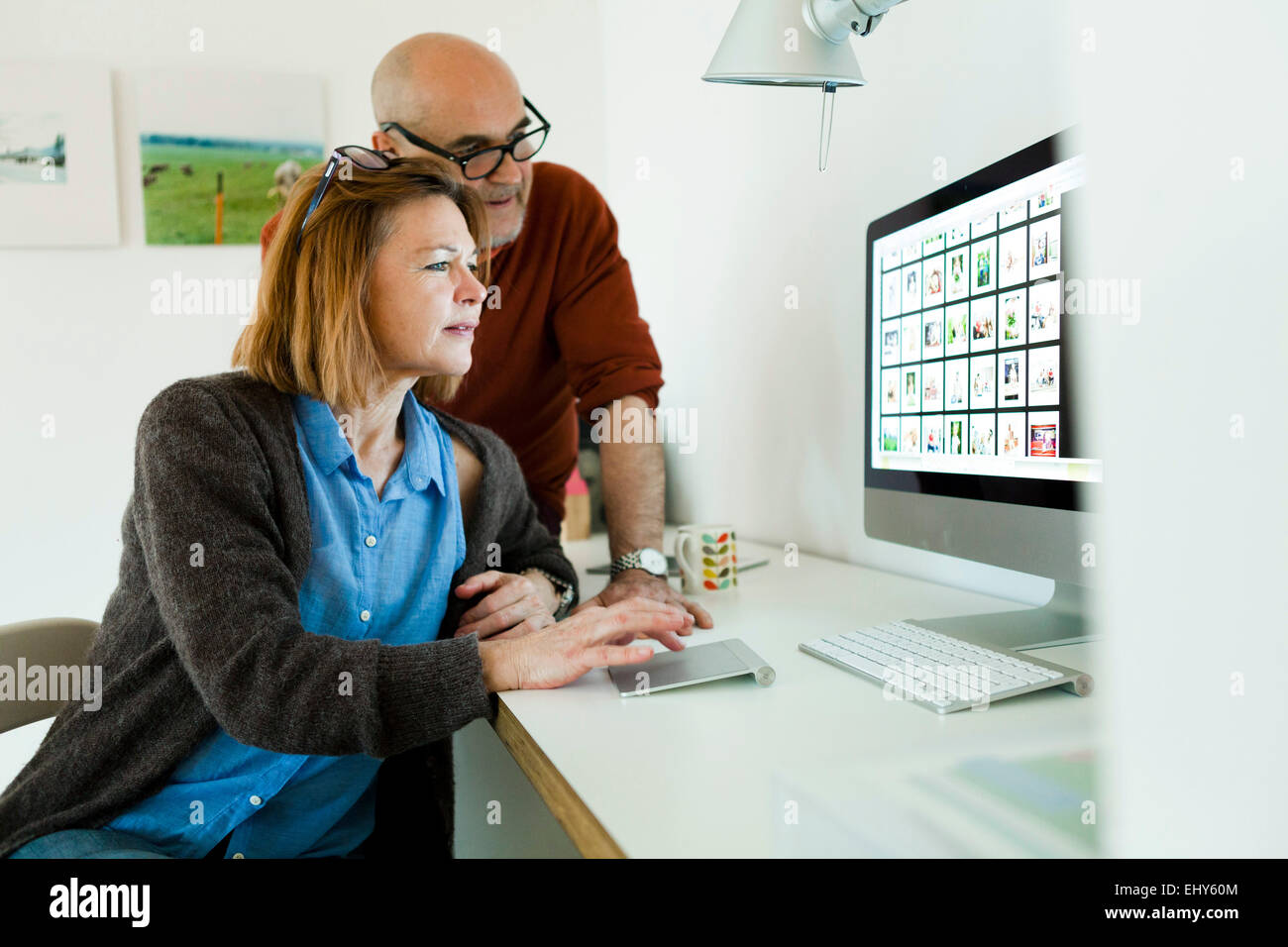 Senior couple using computer at home - Stock Image