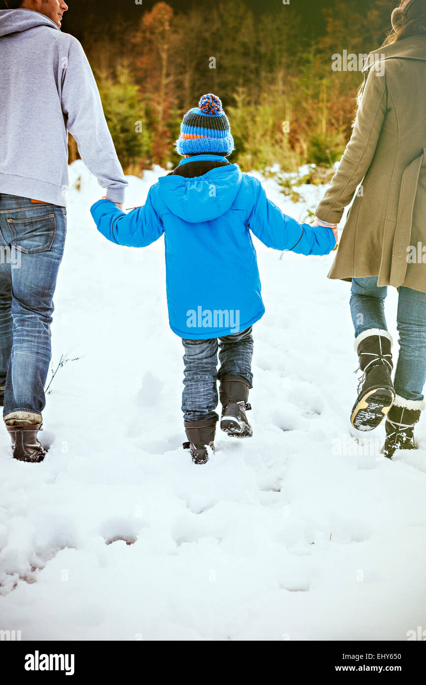 Parents and son searching for the perfect Christmas tree Stock Photo