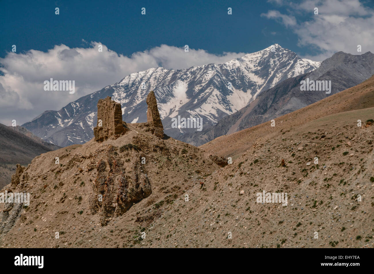 Picturesque old ruins of buddhist shrines in Himalayas mountains in Nepal - Stock Image