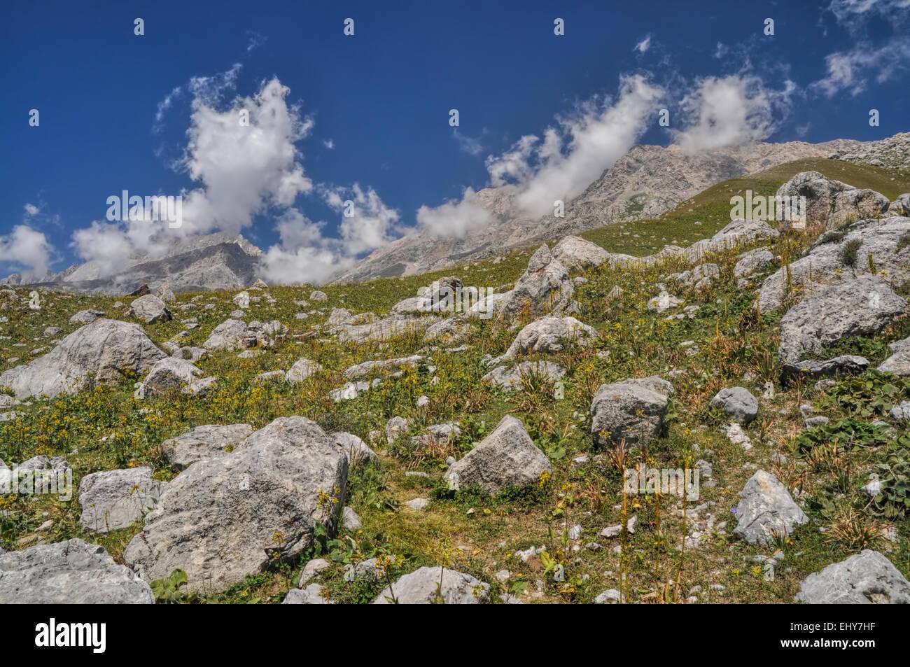 Scenic mountain range in Kyrgyzstan - Stock Image