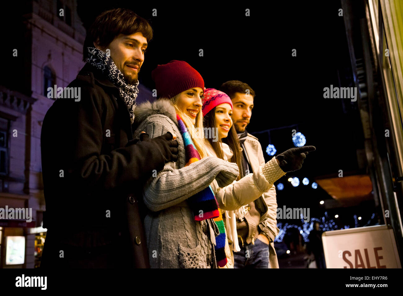 Group of friends at Christmas Market - Stock Image