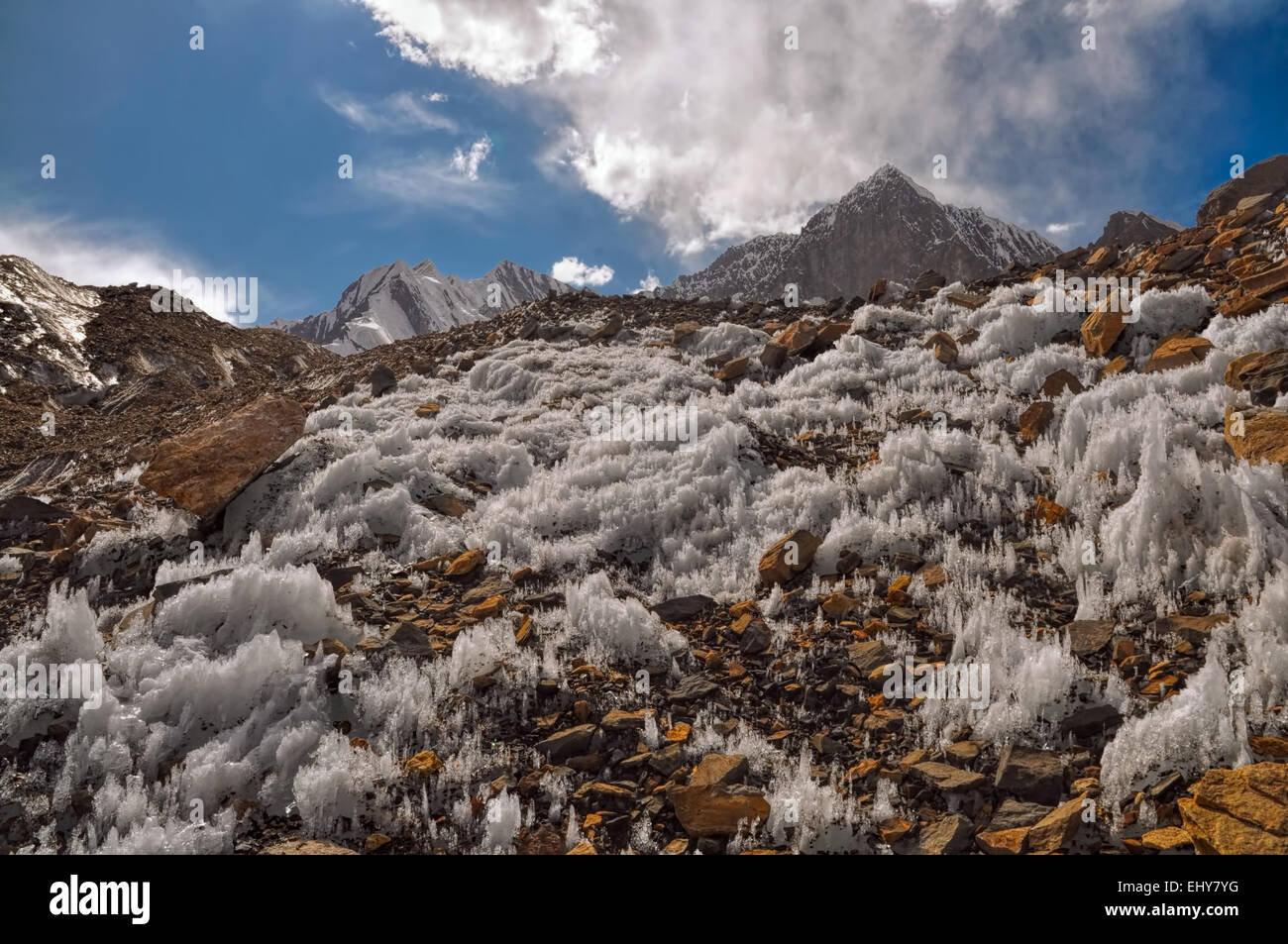 Scenic ice crystals in Pamir mountains in Tajikistan - Stock Image