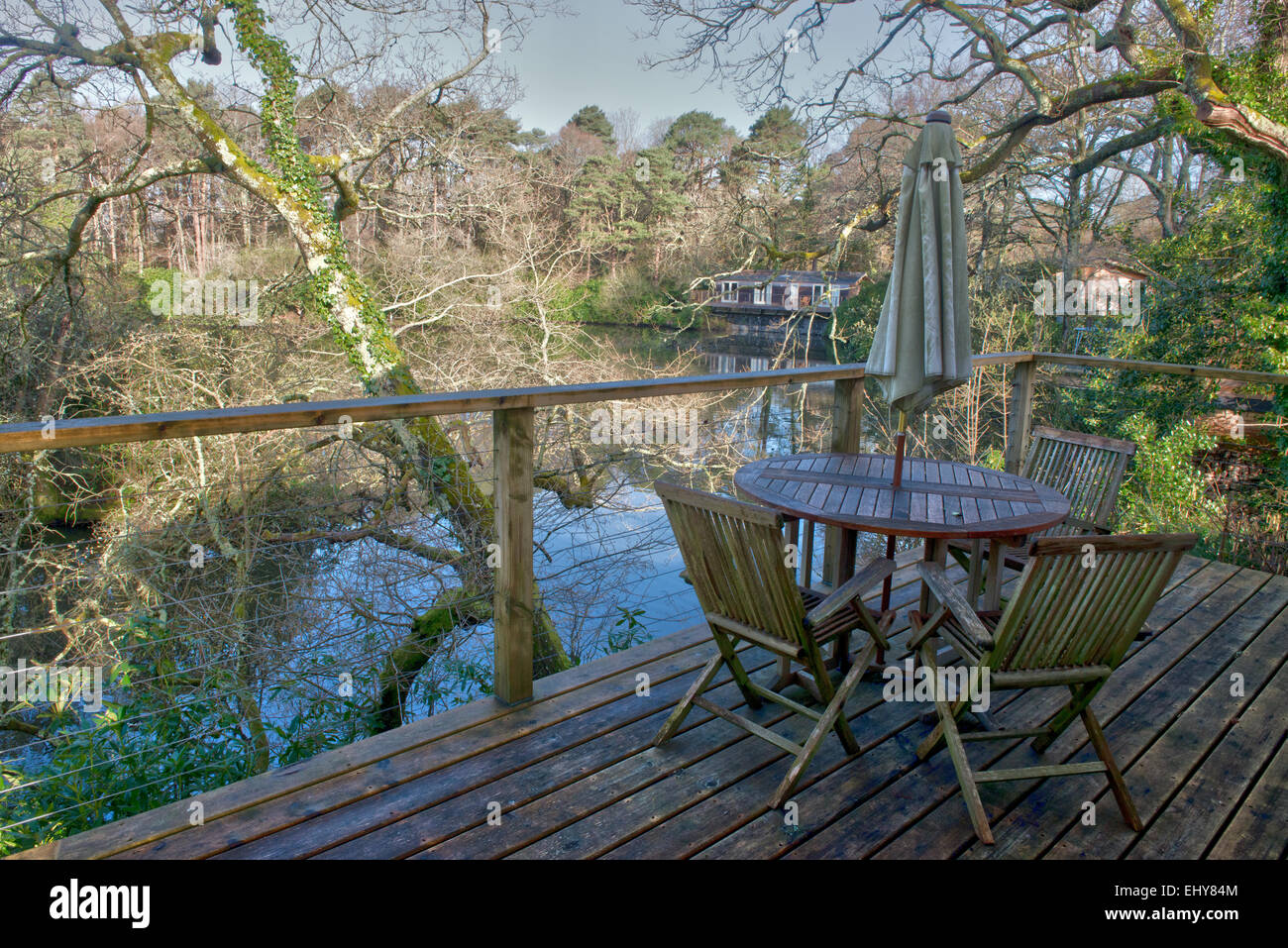 Indio Lake Lodges, Bovey Tracey, Devon, England, UK, GB - Stock Image