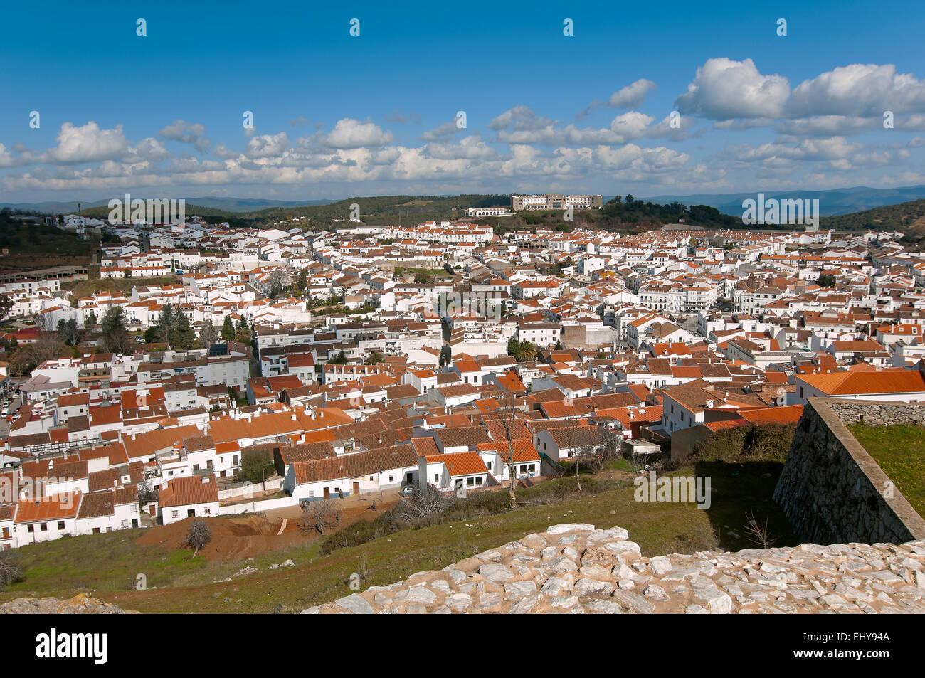 Panoramic view, Aracena, Huelva province, Region of Andalusia, Spain, Europe - Stock Image