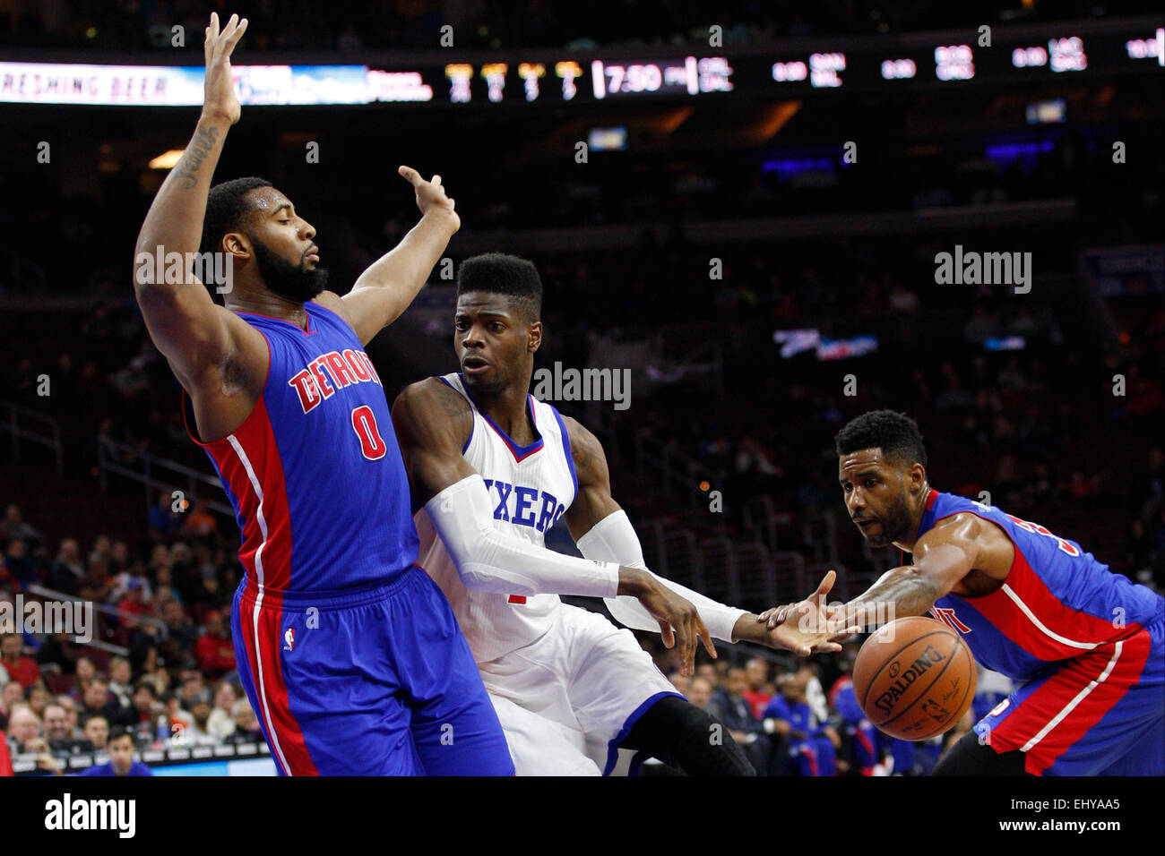 Philadelphia, Pennsylvania, USA. 18th Mar, 2015. Detroit Pistons forward Shawne Williams (3) tries to steal that Stock Photo