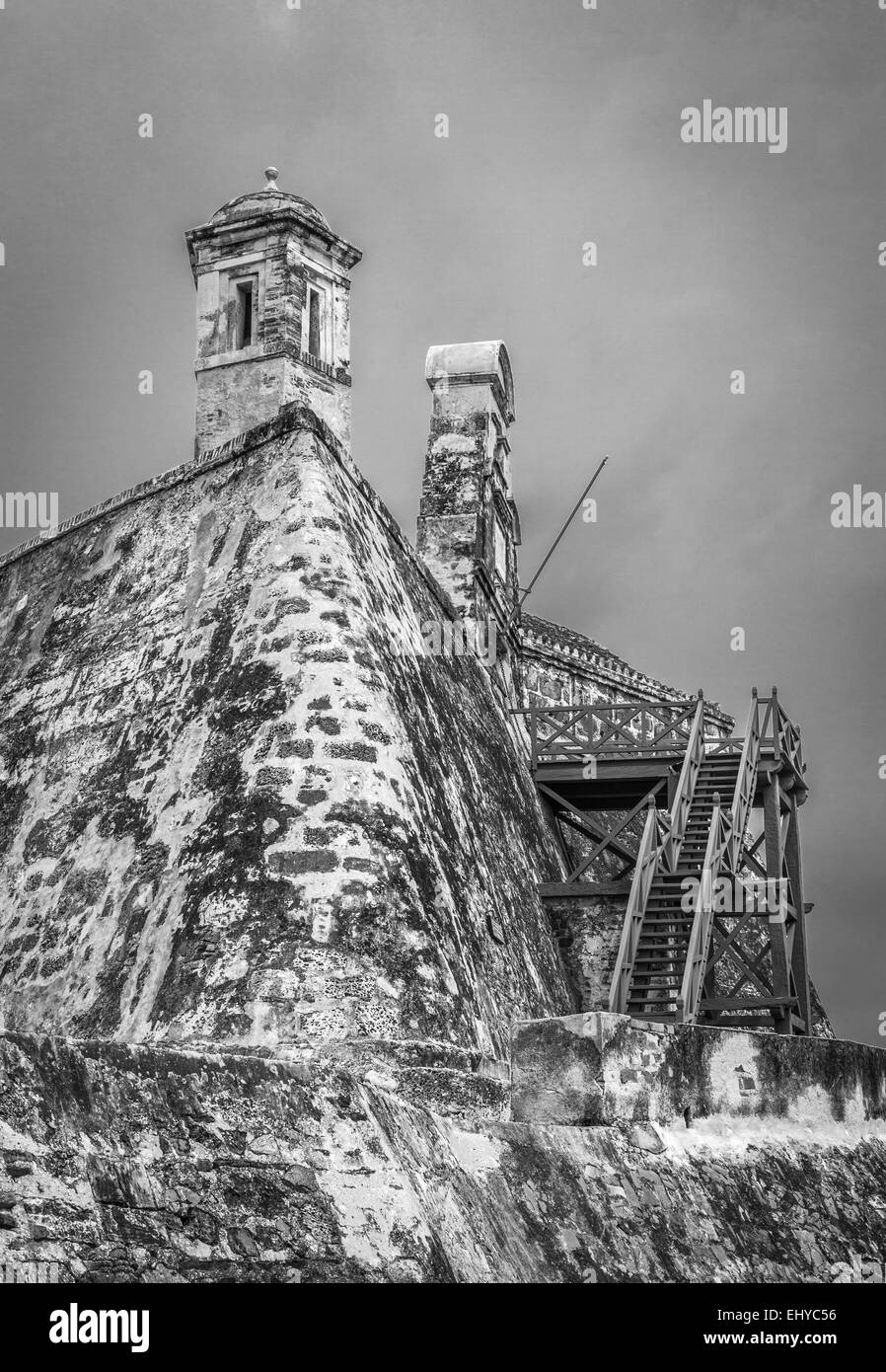 Monochrome photo of San Felipe fortress, Cartagena de Indias, Colombia. - Stock Image