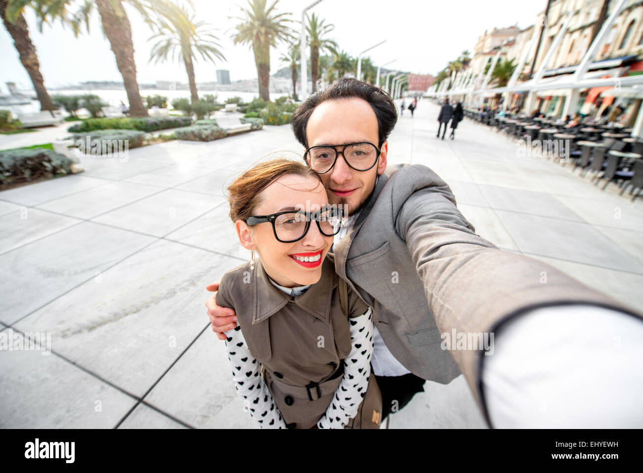 Couple taking selfie picture - Stock Image