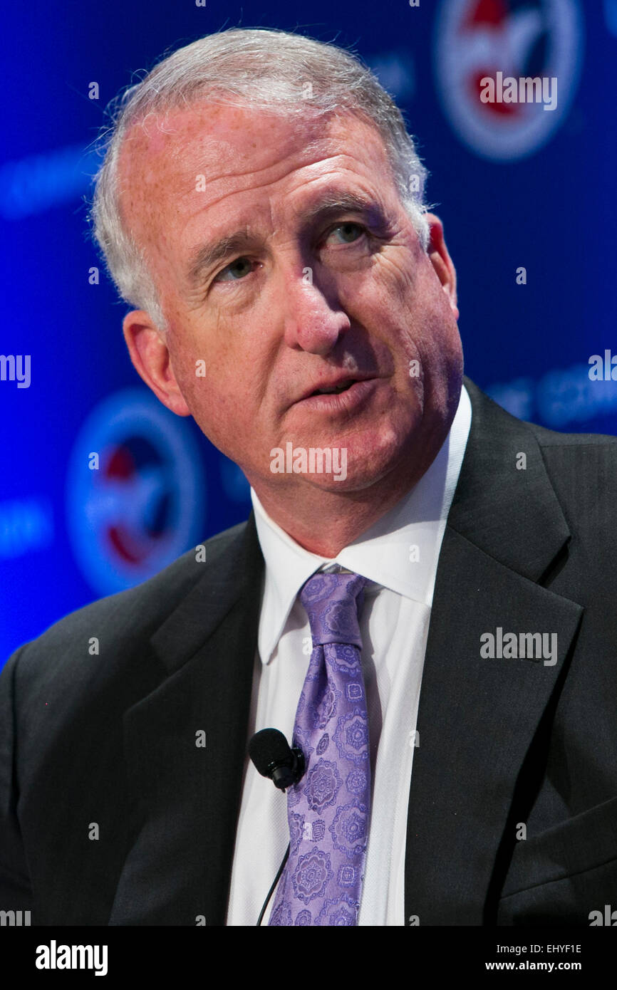 Washington, DC, USA. 17th Mar, 2015. Craig Cooning, President, Network and Space Systems, speaks at the 14th annual - Stock Image