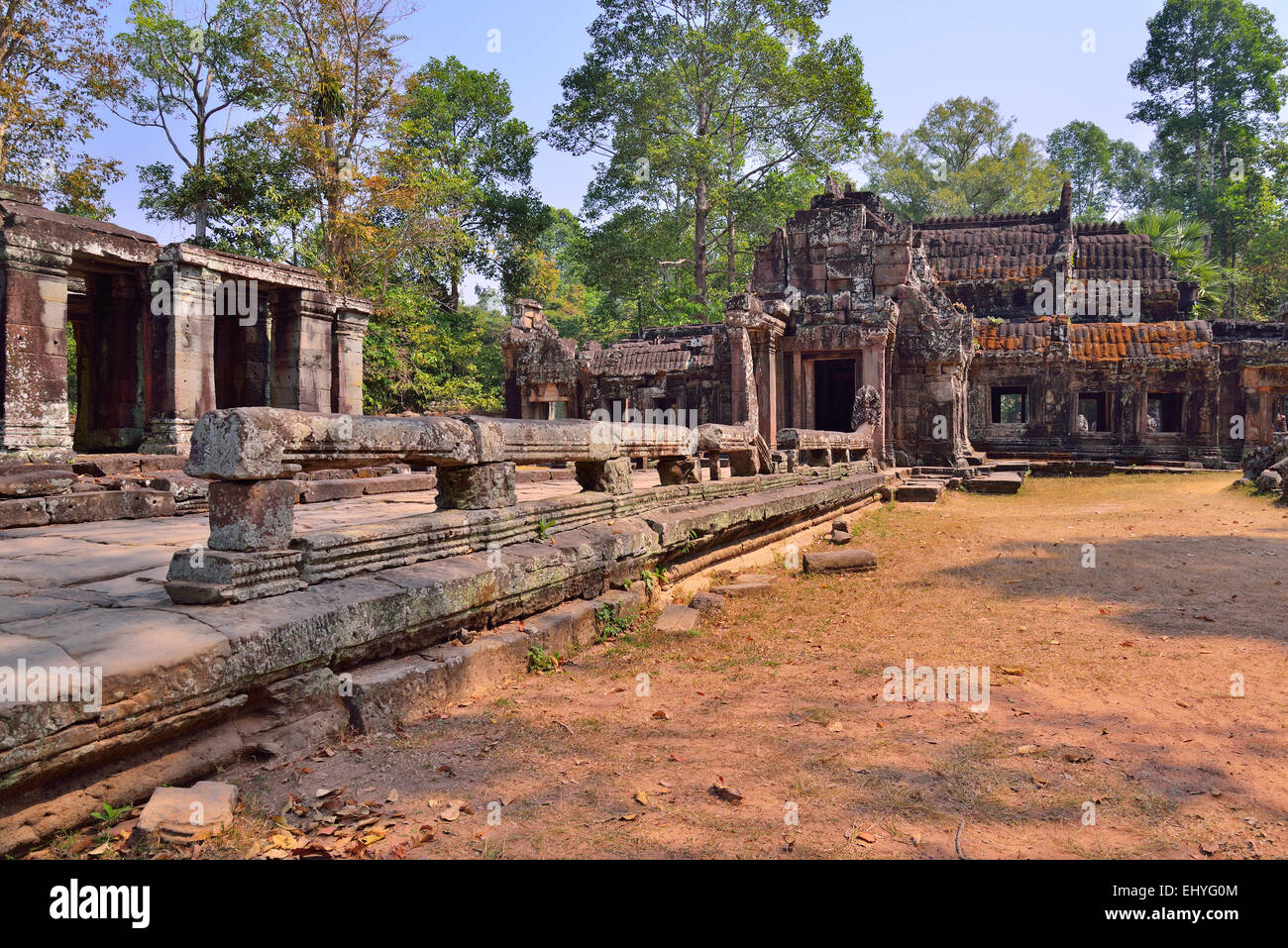 Banteay Kdei Temple in Siem Reap, Cambodia. No people in the picture with blue sky. - Stock Image