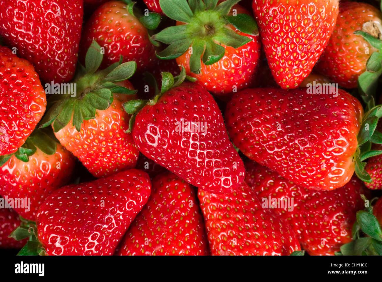 Ripe strawberry background close up full frame. - Stock Image