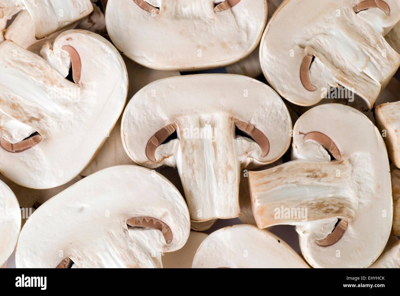 Sliced mushroom full frame. - Stock Image