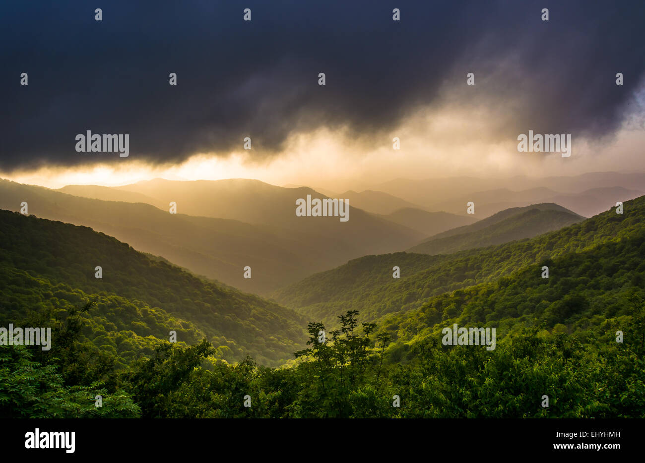 Dramatic evening view of the Blue Ridge Mountains from the Blue ...