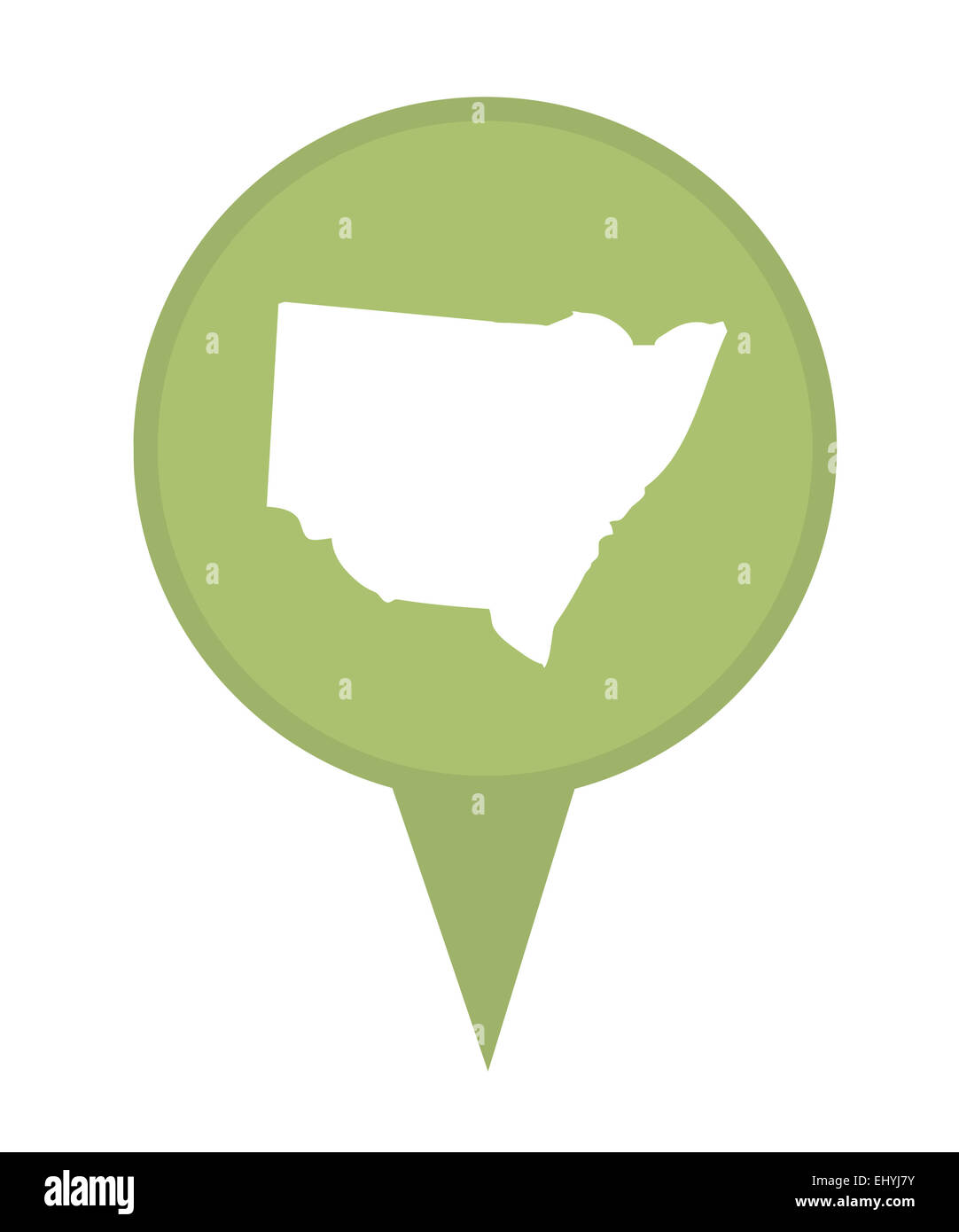 Australia New South Wales State map marker pin isolated on a white background. - Stock Image