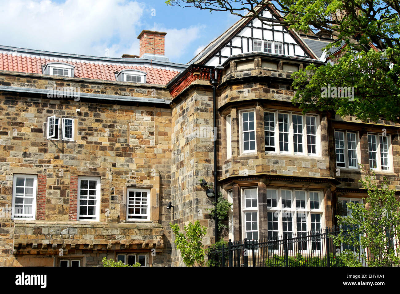 Exterior of an old English stately home or manor house in North Yorkshire, England. - Stock Image